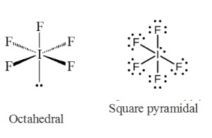 What is the electron-domain (charge-cloud) geometry of IF5