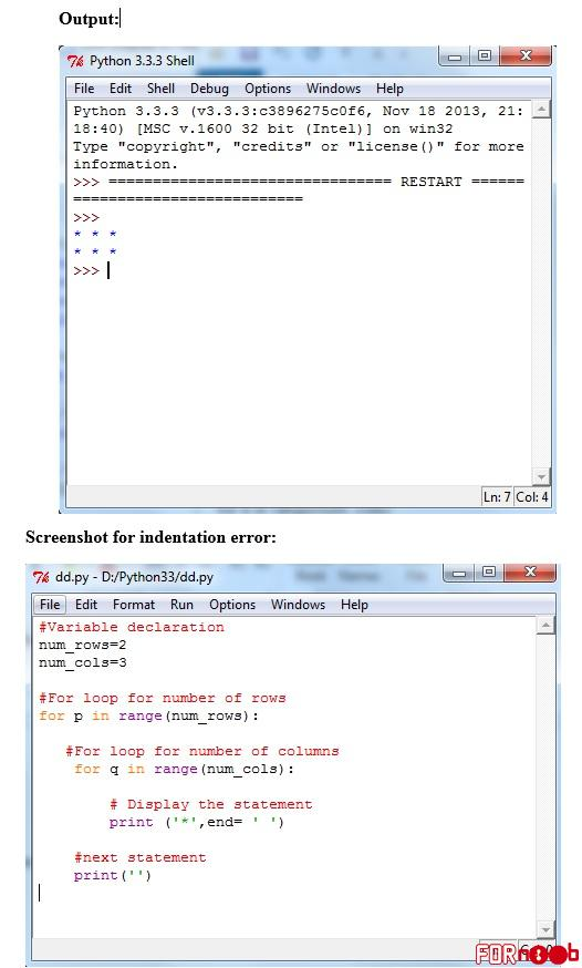 Write nested loops to print a rectangle. Sample output for given program