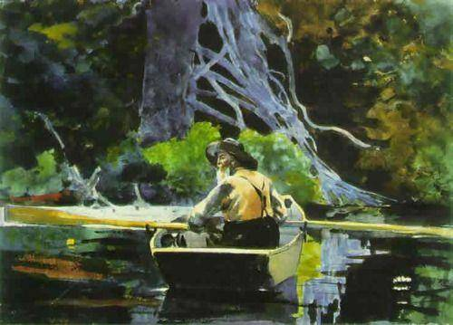 This watercolor, entitled the adirondak guide, was painted by which artist?  a. winslow homer c. mar