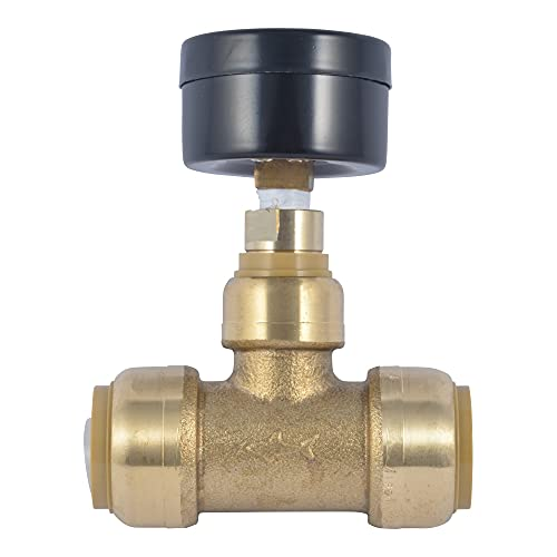 SharkBite 24438 Brass Push-to-Connect Tee with Water Pressure Gauge, 3/4'
