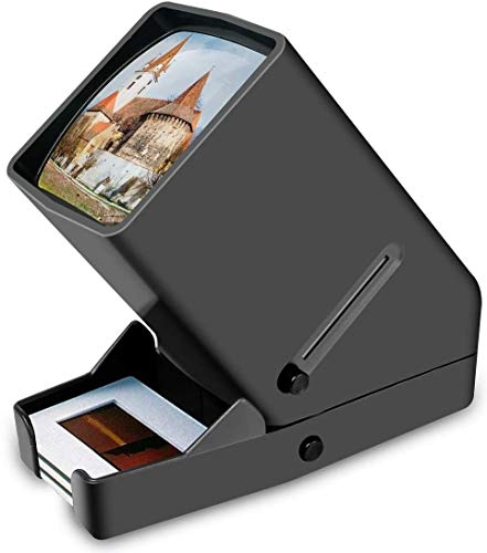 Rybozen 35mm Slide Viewer, 3X Magnification and Desk Top LED Lighted Illuminated Viewing and Battery Operation-for 35mm Slides & Positive Film Negatives(4AA Batteries Included)