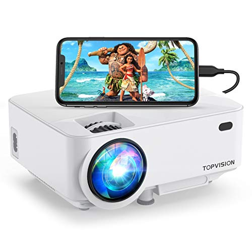 Mini Projector, Top vision 5500L Outdoor Movie Projector, Full HD 1080P Supported Portable Video Projector, Compatible with Fire Stick,HDMI,VGA,USB,AV,Laptop,PS4