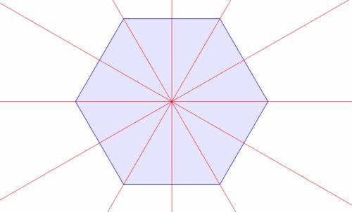 How many lines of symmetry does the hexagon have?