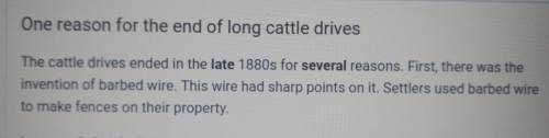 What describes one reason for the end of long cattle drives
